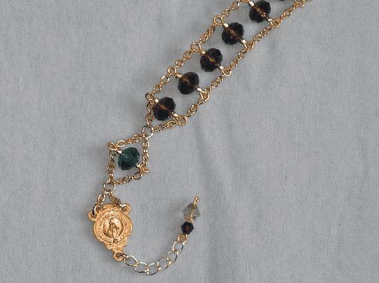 Purple And Green Swarovski Crystal Ladder Rosary Bracelet