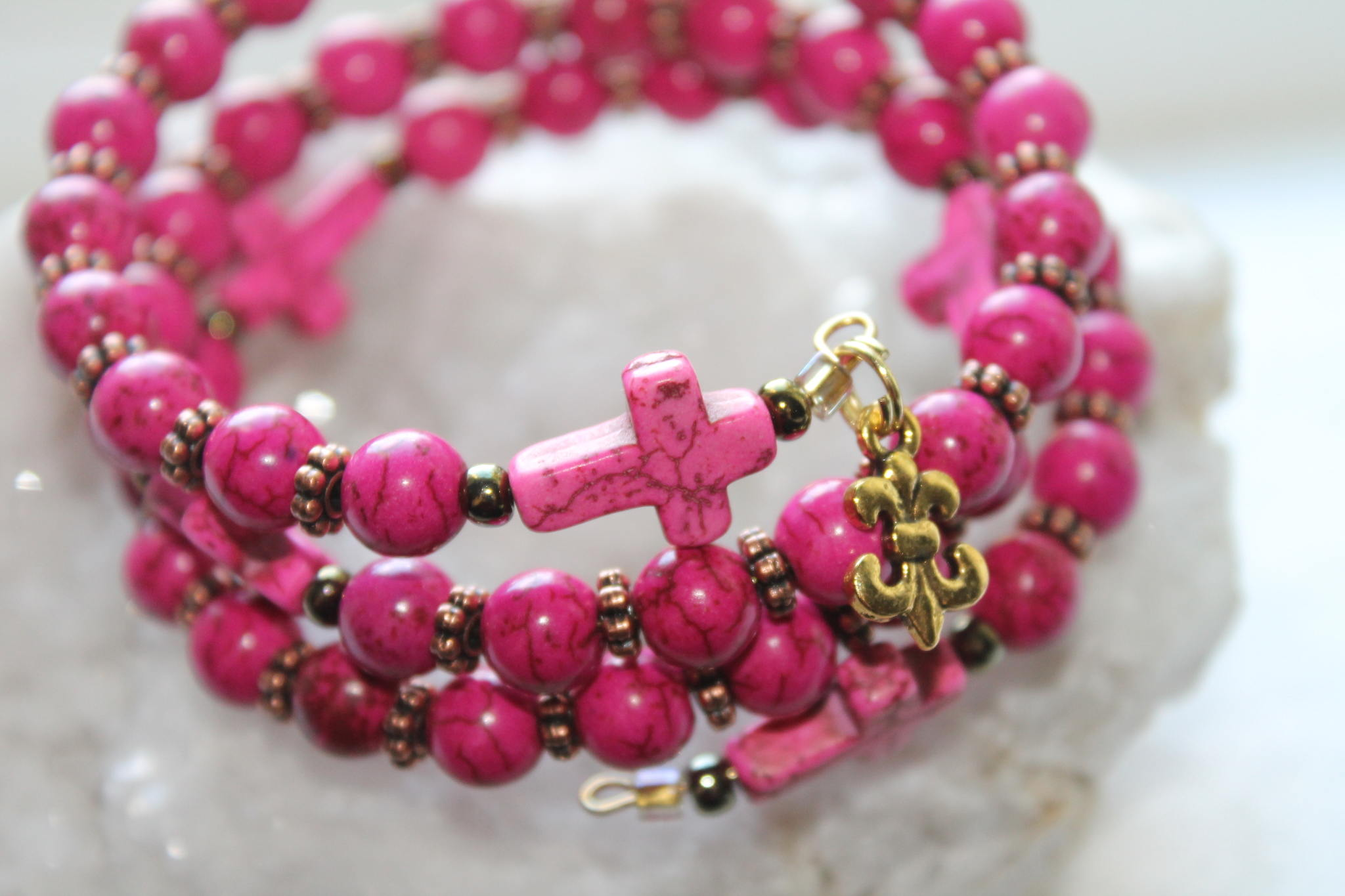 Catholic Wrap Rosary Bracelet In Pink Turquoise And Bronze Gold Free Shipping Handmade