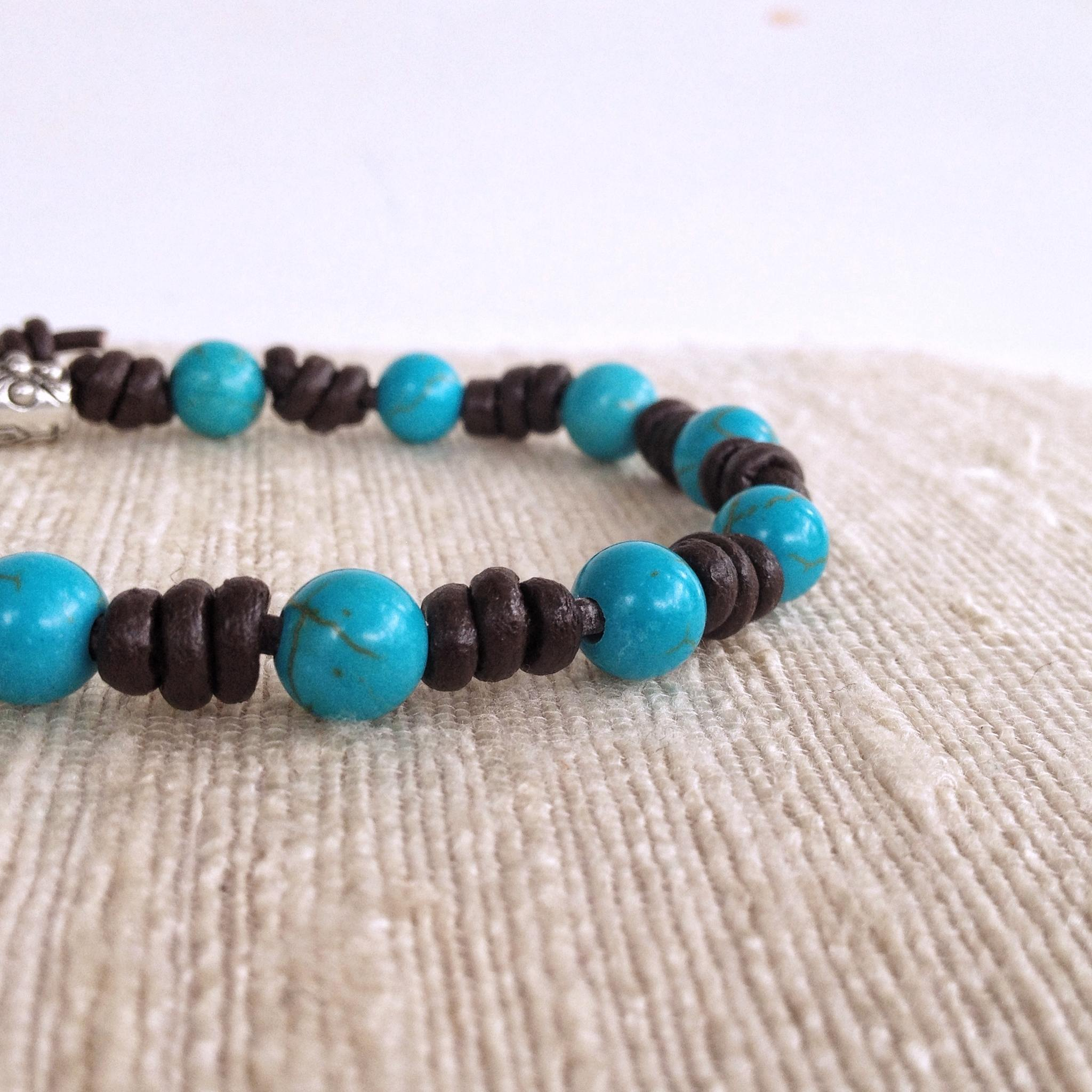 Turquoise Rosary Bracelet Unisex Decade Bracelet On Leather Cord