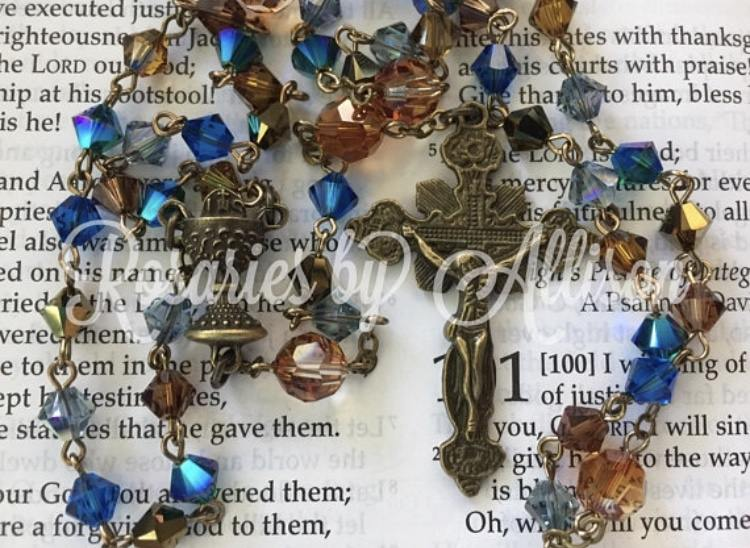 0fed1f619ccf2 Lakeshore & Crystal Copper Swarovski Bronze Plated Chalice Rosary