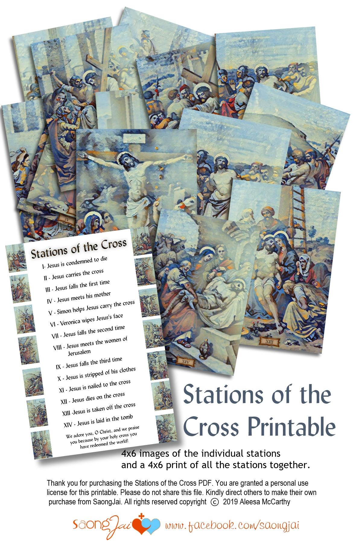 graphic about Printable Stations of the Cross named Printable 4x6 Stations of the Cross PDF